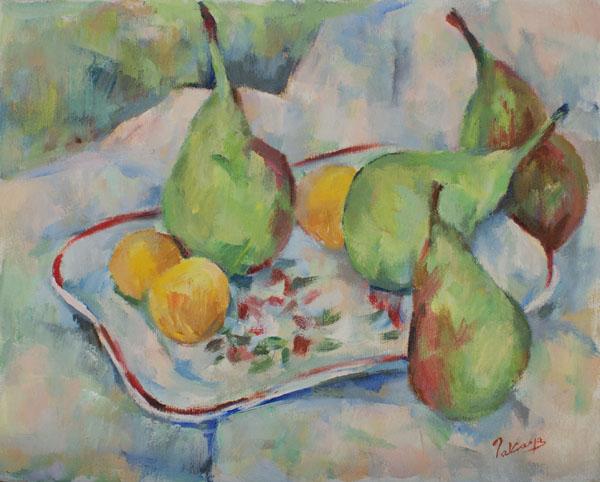 絵皿と果物(完成)_c0236929_22503335.jpg