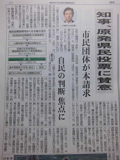 川勝知事、県民投票実施賛成の意見書を県議会に提出の意向表明!_f0141310_7191476.jpg