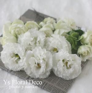 白とグリーンのキャスケードブーケ&ヘッドドレス_b0113510_10582341.jpg