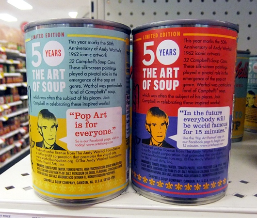 ウォーホールの代表作「キャンベル・スープ缶」を再現した本物のスープ缶がたった75セント?!_b0007805_8205139.jpg