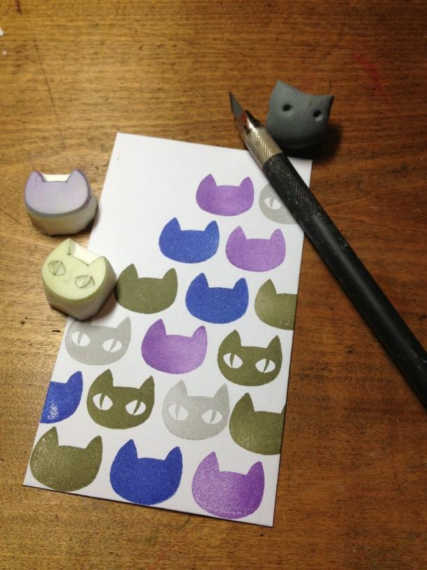 1day講座「神楽坂で猫を彫ろう!」in 神楽坂てまめ_c0154210_842534.jpg