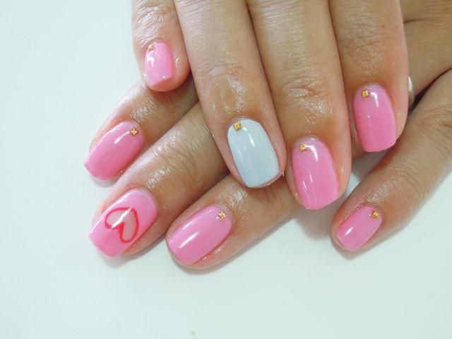 Pink Heart Nail_a0239065_21395357.jpg