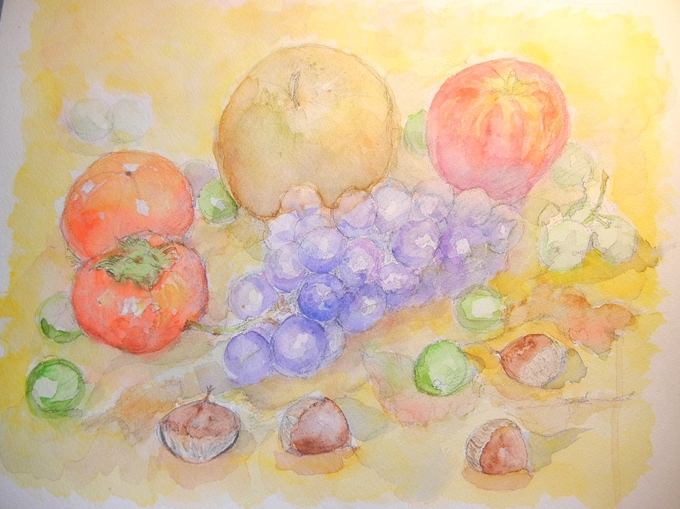 '12,10,3(水)秋の果物を描いてみました~!_f0060461_13145272.jpg