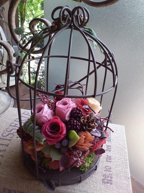 秋色鳥かごアレンジ♪レッスン_e0128024_2373020.jpg