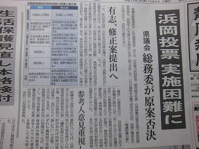 形式論に終始し、本質的な議論が伝わってこなかった県議会の「浜岡原発の再稼動を問う県民投票条例案」_f0141310_7101537.jpg