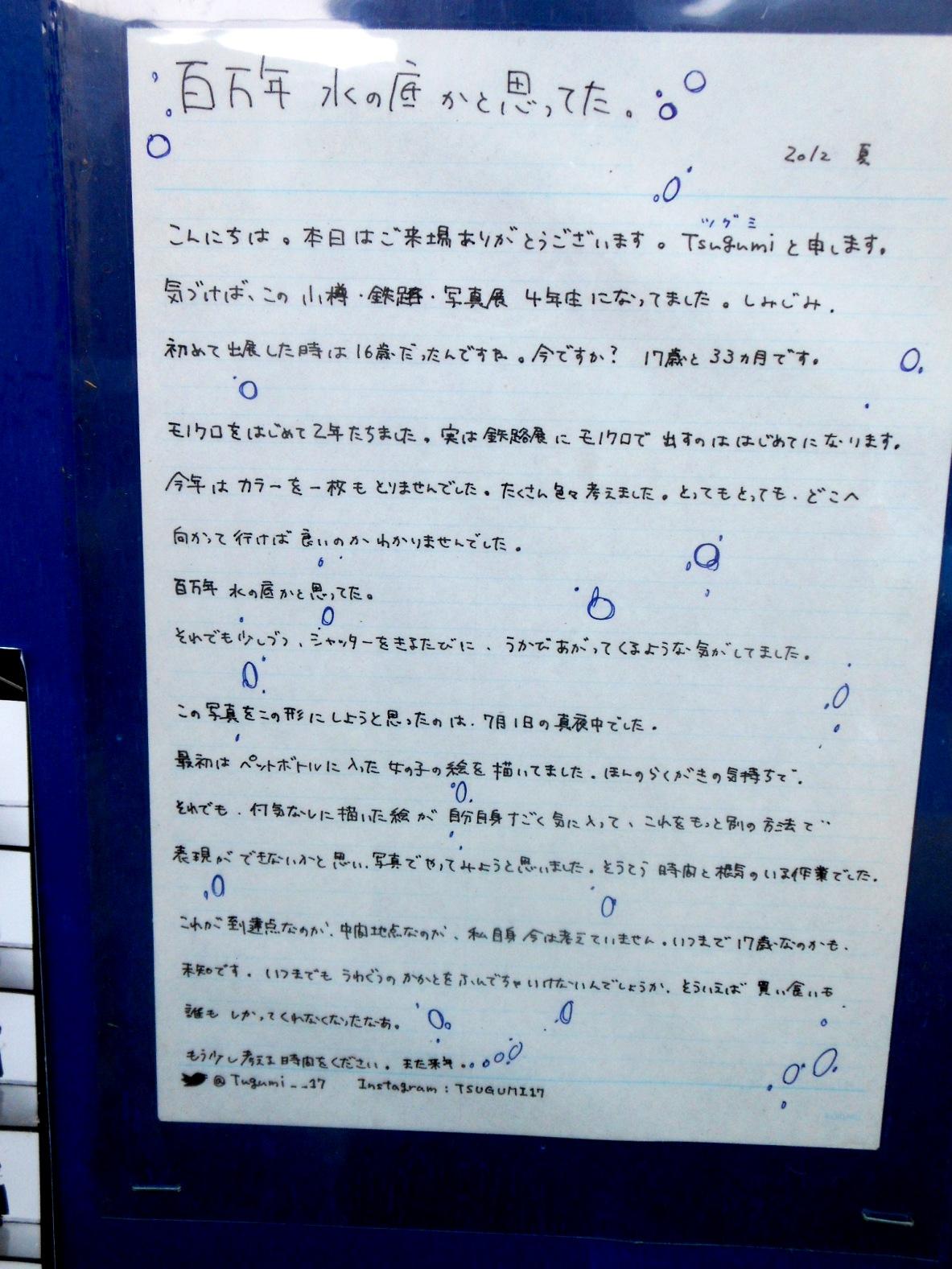 1829)②「小樽・鉄路・写真展 13th 2012」 小樽旧手宮線跡地 8月27日(月)~9月9日(日) _f0126829_10124767.jpg
