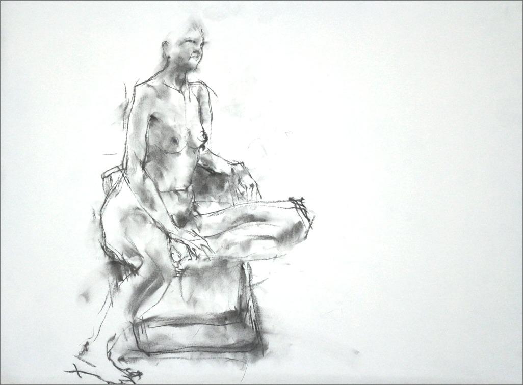 《クロッキー20分 ・・・ 肘をかけ椅子に座るポーズ) その4 》 _f0159856_21155474.jpg