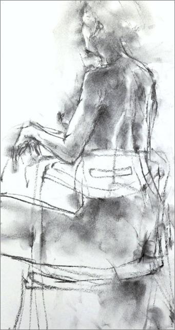 クロッキー20分 ・・・ 肘をかけ椅子に座るポーズ) その5 》 _f0159856_2124085.jpg