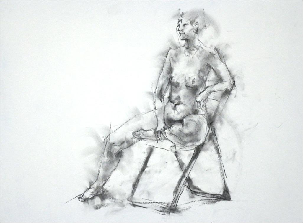 《クロッキー20分 ・・・ 肘をかけ椅子に座るポーズ) その3 》 _f0159856_2134757.jpg