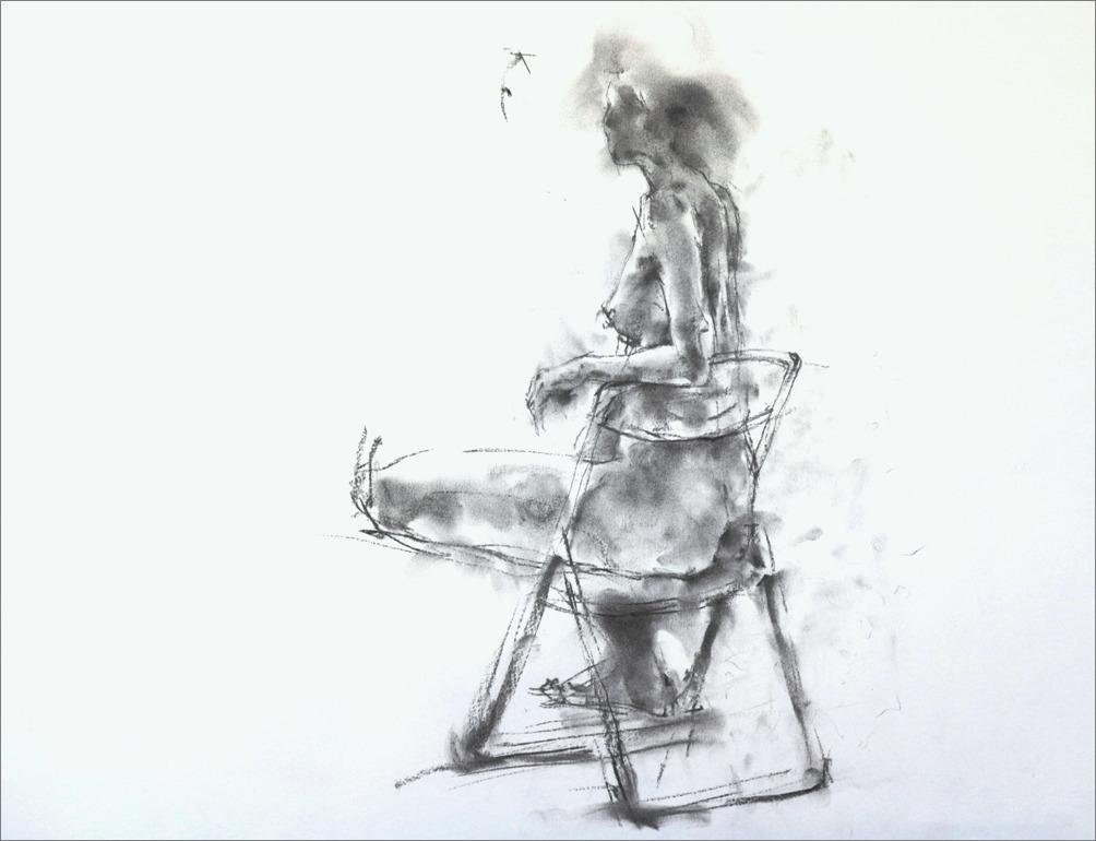 《クロッキー20分 ・・・ 肘をかけ椅子に座るポーズ) その1 》 _f0159856_6562932.jpg