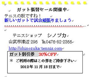 秋のガット張替えキャンペーン開催中_a0151444_938619.jpg