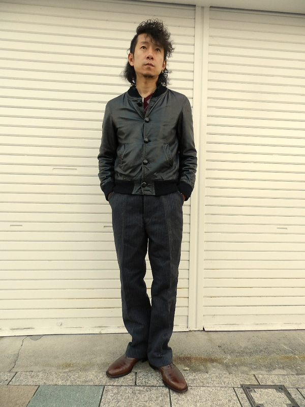 French vintage stripe&gray cotton pants snaps_f0226051_22313366.jpg
