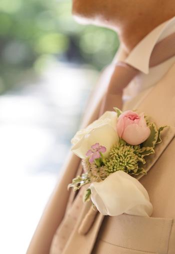 リボンブーケ*ころんとまるいバラの花で & シャンパングラスフラワー2 to 軽井沢ホテルブレストンコート様_a0115684_0582833.jpg