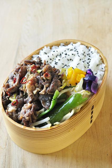 レンジ醤油糀の牛煮弁当と息子誕生日ケーキ_b0171098_821415.jpg