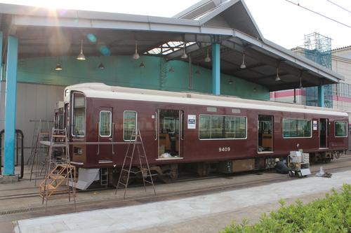 阪急8008Fアルナ車両入場 9309F修理_d0202264_10284622.jpg