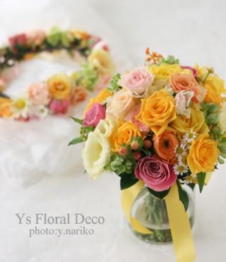 黄色のドレスに ミックスカラーのブーケと花冠_b0113510_531187.jpg
