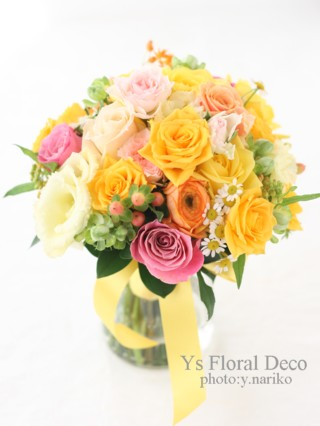 黄色のドレスに ミックスカラーのブーケと花冠_b0113510_531544.jpg