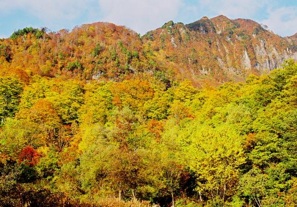 秘境秋山郷にそびえる紅葉日本一ともいわれる名峰_a0113718_101554.jpg