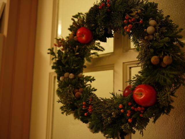 手作りクリスマスリース~試作編_b0271383_21404354.jpg