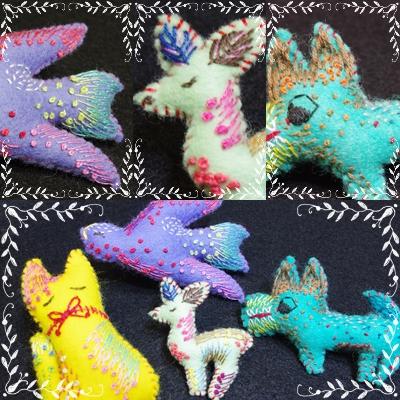 カラフルに刺繍された動物たち…_c0220186_15145295.jpg