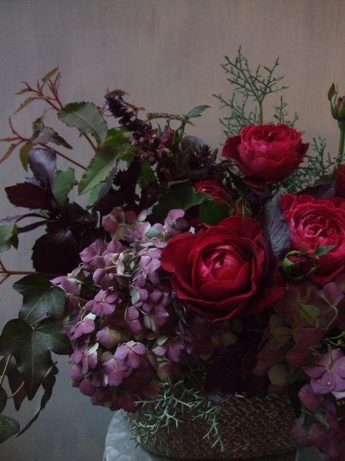 オークリーフ(市川バラ園・ジャルダンパヒューメと秋色アジサイのアレンジメント)_f0049672_173366.jpg