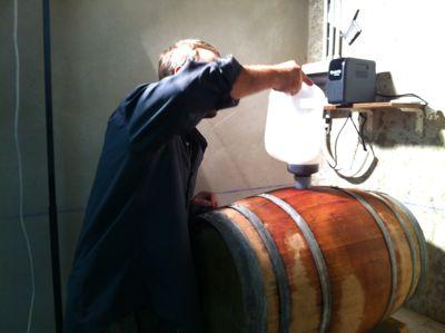 赤ワイン、ステンレスの容器から木樽へ_d0136540_8502987.jpg