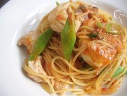 11/29本日のパスタ:鶏胸肉とモロッコインゲンのトマトソース・スパゲティ_a0116684_1150247.jpg