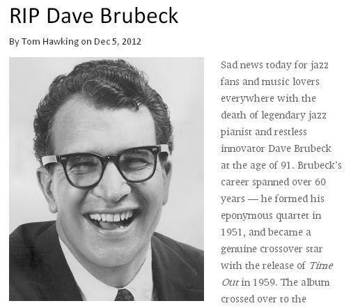 デイヴ・ブルーベック没 Dave Brubeck 12月5日_c0025115_19321967.jpg