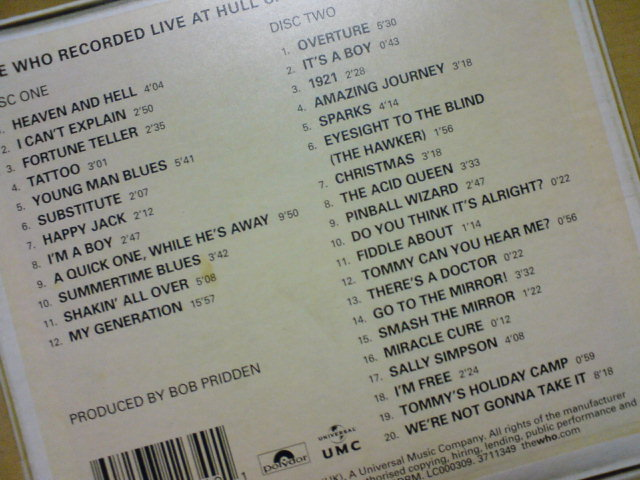 本日到着CD 〜 Live At Hull 1970 / The Who_c0104445_22255747.jpg