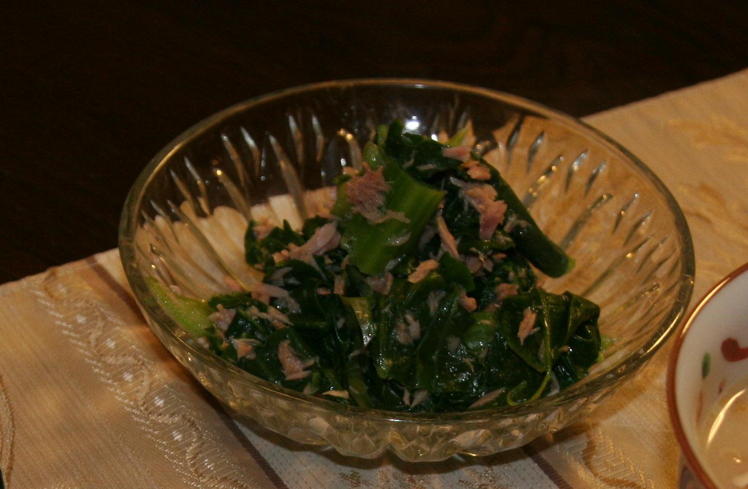 「小松菜のツナ和え 」_f0229190_2361878.jpg