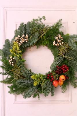 一会定期レッスン12月クリスマスリース モミの部_a0042928_17443172.jpg