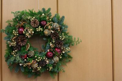 一会定期レッスン12月クリスマスリース モミの部_a0042928_17455155.jpg