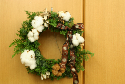 一会定期レッスン12月クリスマスリース モミの部_a0042928_17462427.jpg