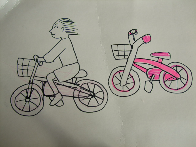 4歳の娘)自転車の絵の練習 ...