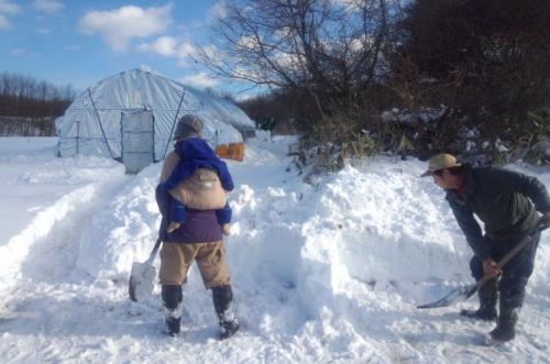 畑の雪かき_c0110869_2154519.jpg