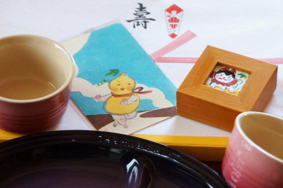犬ちゃんから自作の絵、寺尾由美子さんからルクルーゼの食器の贈り物_f0006713_20263421.jpg