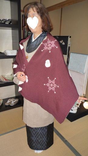 雪だるまのショールに素敵なお手製コートのお客様_f0181251_17374238.jpg