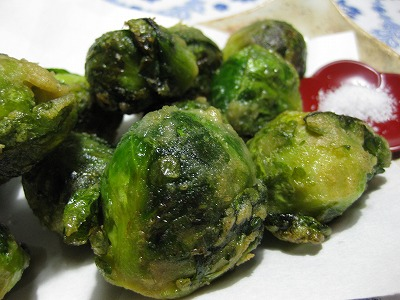 芽キャベツ天ぷら、海老と豆腐の中華風♪_f0116812_911273.jpg