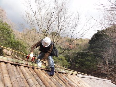 「バンブーハウス」竹屋根葺き替え作業ほぼ完了 in  孝子の森_c0108460_18264399.jpg