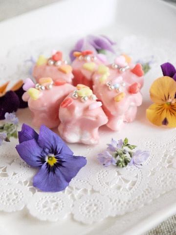 花を添えて。。。マシュマロハートの手作りチョコ_e0086864_8134235.jpg