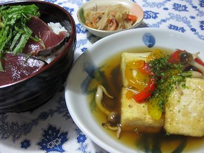 かつおたたき丼、鶏肉マヨポン♪_f0116812_9554242.jpg