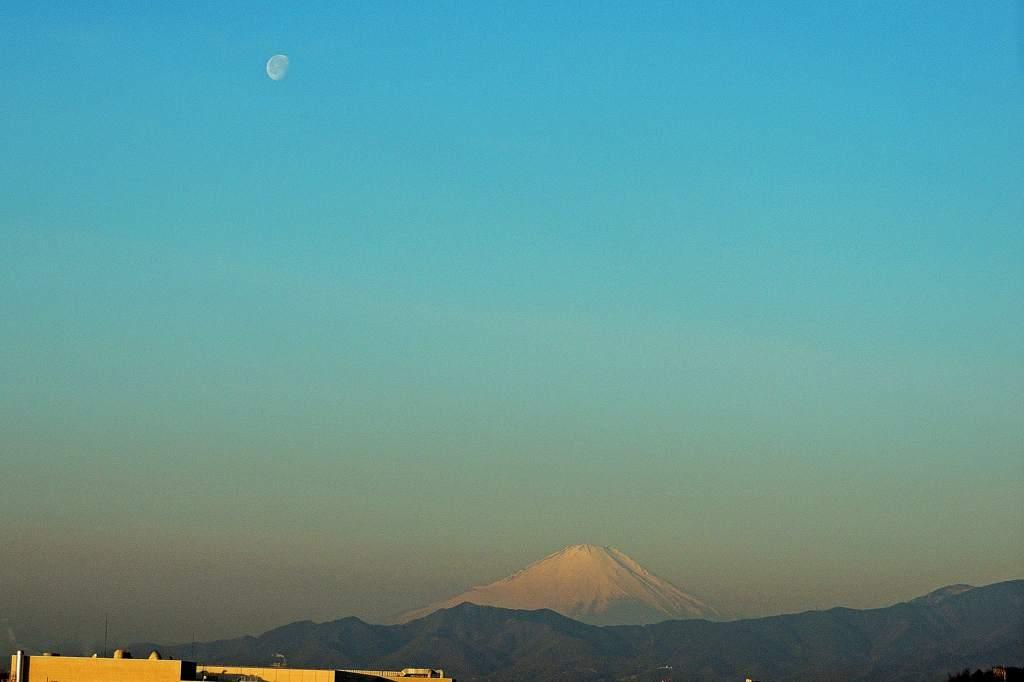 今日はこれ一枚だけ/今日のMF/今朝の月と富士のコラボ_b0024798_17145644.jpg