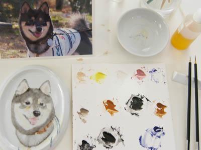 【柴犬ポーセリン】手描き肖像顎、制作中♪_f0062790_18482715.jpg