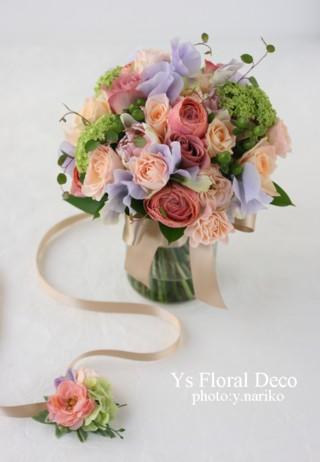 春色のブーケとフラワーアクセサリー ルシェルブラン表参道さんのおふたりに_b0113510_0302482.jpg