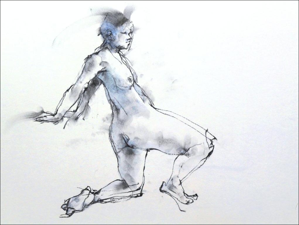 《 クロッキー(croquis) ・・・ 両手を後ろにつき片膝をつくポーズ 》_f0159856_7114364.jpg
