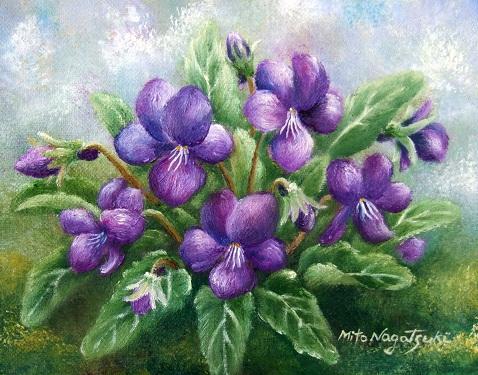 菫の絵画(油絵)/花の絵_b0089338_23505957.jpg