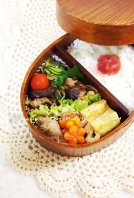 ピーマンと豚肉・なすの甘酢炒め弁当_c0270834_12101522.jpg