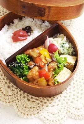 鶏肉の甘酢あん弁当_c0270834_13102725.jpg
