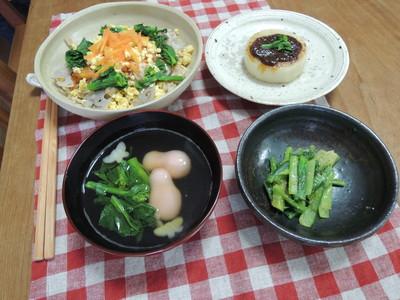ちらし寿司、大根ステーキ、青菜胡麻和え を作りました_b0252363_1458943.jpg