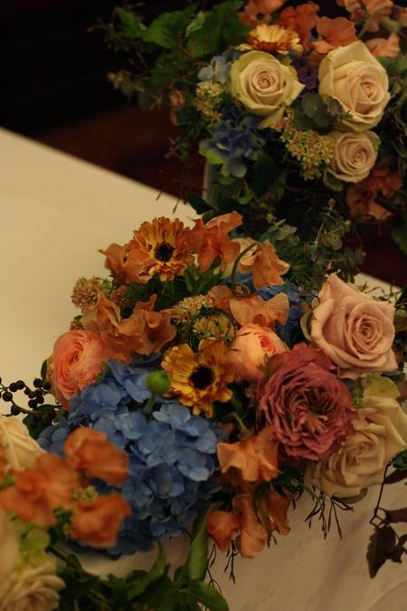 新郎新婦様からのメール 紅茶と青の金色の装花 レストランPACHON様へ_a0042928_22174378.jpg